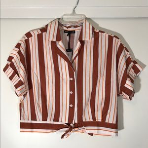 Striped Crop Button-Up